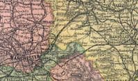 ENGLAND:Northern.Inset plans.Old Antique Map.Bacon.1896